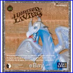 11.5ft White Winter DRAGON Animated Wings Halloween Inflatable FIRE & ICE Effect
