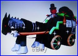 11 Ft Inflatable Halloween Carriage Spider Pumpkin Horse Outdoor Garden Backyard
