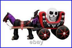 12 Foot Halloween Inflatable Air Blown Blowup Decoration Skeleton Ghost Carriage