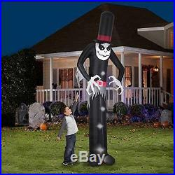 12' Tall Mr. Skeleton Top Hat Halloween Airblown Inflatable New