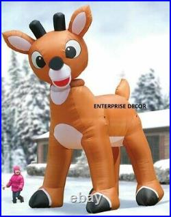 15' Ft Animated Christmas Rudolph Nose Reindeer Airblown Inflatable Led