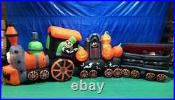 17 1/2' Gemmy Airblown Inflatable Halloween Train with Ghost & Vampire In Coffin