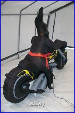 2007 Gemmy Airblown Inflatable Biker Grim Reaper 8 Feet Long