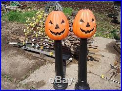 2 42 TPI Pumpkin On A Candle Pole Blow Mold Halloween stick JOL COOL lot