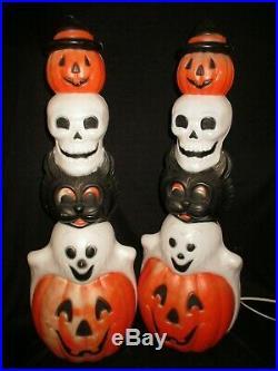 2 Empire Blow Mold Halloween Totem Stacks Pumpkins Cat Skull Ghost 33
