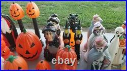 33 Rare Vtg Halloween Blowmold Jol Dracula Ghost Cat Skeleton Witch Featherston