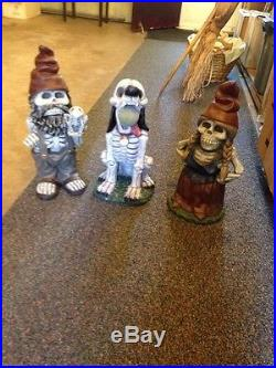 3 Zombie Garden Gnome Family Halloween Prop Yard Scary Outdoor Spooky 19 HTF