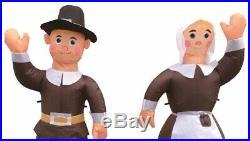 48 Halloween Thanksgiving Pilgrim Set Airblown Inflatable Lighted Yard Decor