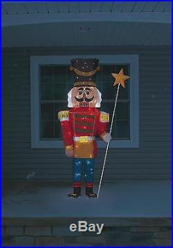 5.5 Feet Tall Christmas Tinsel Nutcracker Lighted Yard Decor