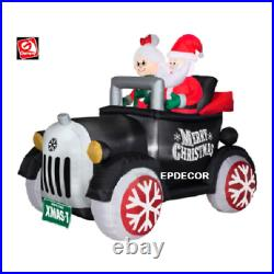 5.5 Ft SANTA & MRS CLAUS IN ANTIQUE CAR AIRBLOWN INFLATABLE LIGHTED YARD DECOR