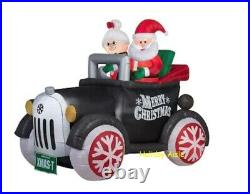 5.5 Ft SANTA & MRS CLAUS IN ANTIQUE CAR Airblown Lighted Yard Inflatable MODEL T