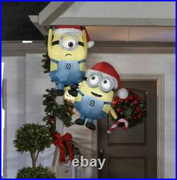 5 Ft HANGING MINIONS WITH CANDY CANE Minion Christmas Inflatable Gutter/Tree