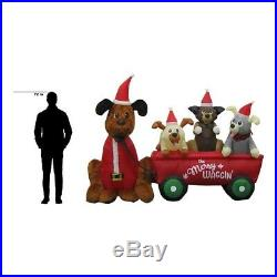 6.99 ft. W Pre-lit Inflatable Wagon Full of Puppies Airblown Scene
