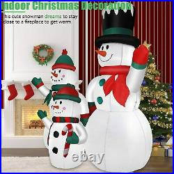 6 FT Lighted Inflatable Snowman Family Outdoor Yard Decoration