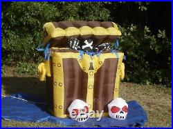 6' Gemmy Lighted Halloween Animated Treasure Chest Airblown Inflatable-NICE