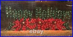 72 HOLOGRAPHIC LIGHTED HAPPY HOLIDAYS SIGN CHRISTMAS Poinsettia OUTDOOR Yard