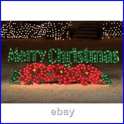 72 HOLOGRAPHIC LIGHTED MERRY CHRISTMAS SIGN HOLIDAY Poinsettia OUTDOOR Yard