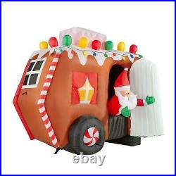 7.5 Ft ANIMATED GINGERBREAD CAMPER TRAILER RV Airblown Inflatable SANTA CLAUS