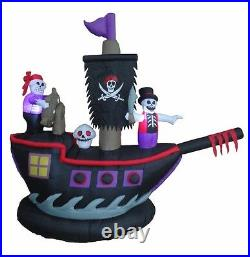 7 Foot Halloween Inflatable Yard Decoration Pirate Ship Skeletons Crew Skull