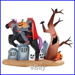 7 Ft Halloween Animated Headless Horseman Graveyard Airblown Inflatable