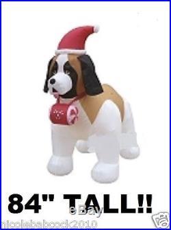 7 Ft St Bernard Dog Lighted Christmas Airblown Inflatable Prop Yard Decro