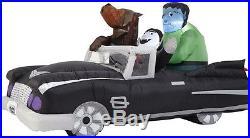 7' Halloween vampire, wolf frankenstein in animated black car airblown inflatable