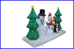 8 Foot Long Christmas Inflatable Snowman Family Penguin Trees Garden Decoration