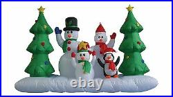 8 Foot Wide Christmas Inflatable Snowman Penguin Tree Air Blown Yard Decoration