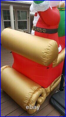 9.5 FT GIANT SANTA IN SLEIGH Airblown Lighted Yard Inflatable PLUSH BEARD/TRIM