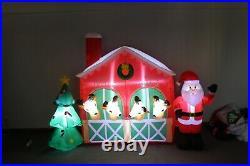 9 Foot Long Christmas Inflatable Santa Claus Reindeer Barn Tree Blowup Air Blown