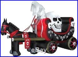 Animated Halloween Horse Pulling Skull Carriage Airblown Inflatable Prop Yard