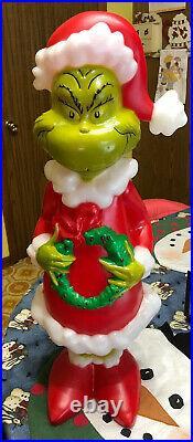 Blow Mold The Grinch Dr Seuss Christmas Santa Xmas 24 Gemmy New Light Up Decor