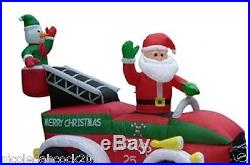 Christmas Santa Snowman Fire Truck Airblown Inflatable Prop Yard Decor