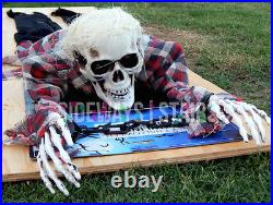 CRAWLING ZOMBIE SKELETON animated prop Halloween decoration plaid shirt creepy