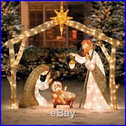 Christmas Lighted Tinsel Sisal Nativity Set Mary Joseph & Baby Jesus Yard Decor
