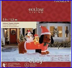 Christmas Santa Dachshund Wiener Dog & Puppies Airblown Inflatable 5 Ft X 6.5