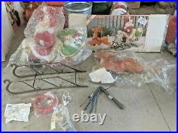 Complete set Santa Sleigh WithToys & all 9 Reindeer EMPIRE lighted Blow Mold