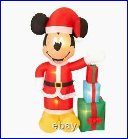 DISNEY Giant Mickey Mouse With Gifts Christmas Airblow Inflatable Lights Up 7ft