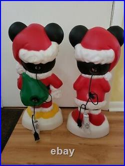 Disney Gemmy Christmas Mickey & Minnie Lighted Blow Mold Yard Decor Set/2 New