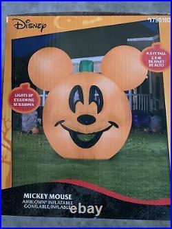 Disney Mickey Mouse Pumpkin Jack O Lantern Halloween Inflatable 9.5 Ft
