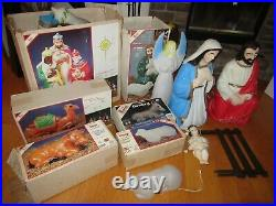 Empire Blow Mold NATIVITY Vintage Christmas Lighted 14 Piece Set 3 Foot Tall