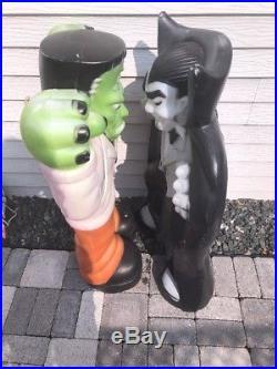 Empire DRACULA & FRANKENSTEIN Lighted Halloween Blow Molds 37 Tall