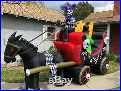 GEMMY Halloween Animated Jester Circus Wagon Inflatable Airblown with Organ Player