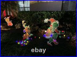 GRINCH Max the Dog & Cindy Lou Christmas yard art Stealing CHRISTMAS Lights