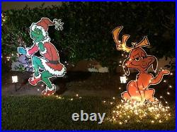 GRINCH Stealing CHRISTMAS Lights Lawn Decoration & Max the Dog too