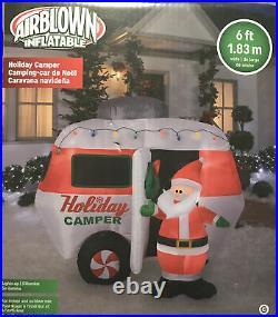 Gemmy 6 Ft Illuminated HOLIDAY CAMPER With Santa NIB Airblown Inflatable RV