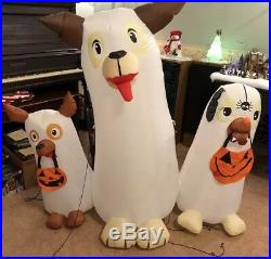 Gemmy Airblown Inflatable 5 Ft Ghost Dog Trio Trick Or Treaters Halloween