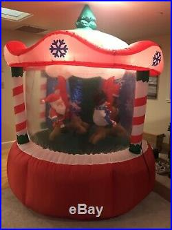 Gemmy Airblown Inflatable 7' Animated Rotating Carousel Merry Go Round