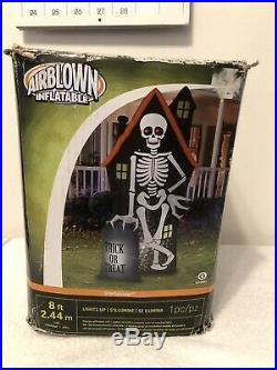 Gemmy Airblown Inflatable 8 Halloween Skeleton Haunted House Great Shape