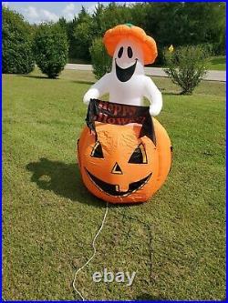 Gemmy Airblown Inflatable Halloween 6 Ghost Pumpkin Light Blow Up Rising Ghost